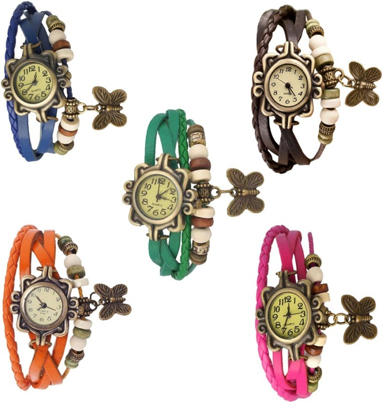 ns18-vintage-butterfly-rakhi-combo-of-5-blue-brown-green-orange-and-pink-watch-for-women