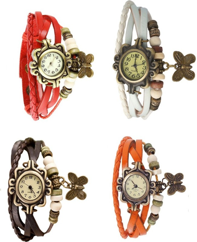 ns18-vintage-butterfly-rakhi-combo-of-4-red-brown-white-and-orange-watch-for-women