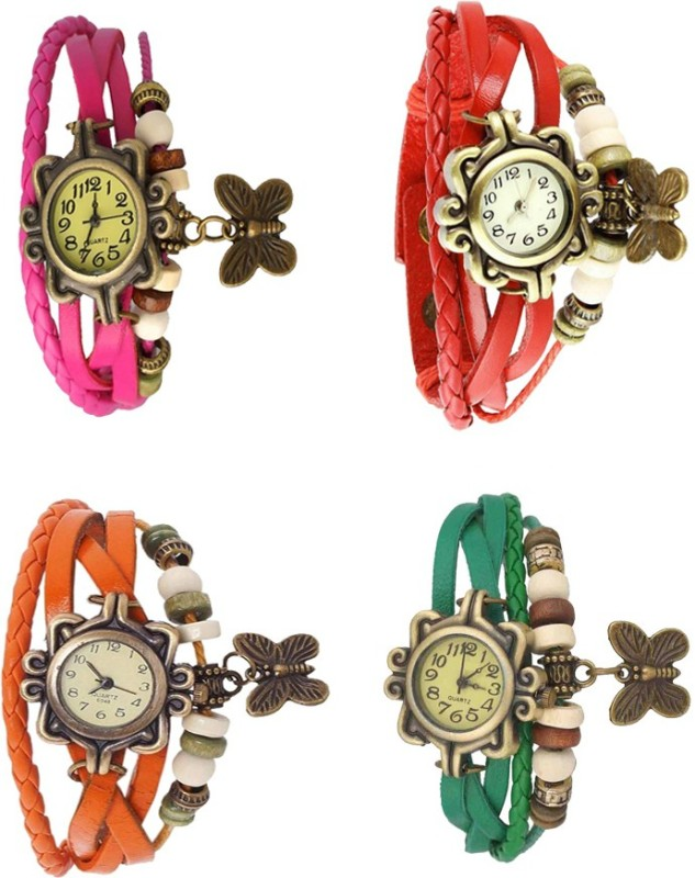 ns18-vintage-butterfly-rakhi-combo-of-4-pink-orange-red-and-green-watch-for-women