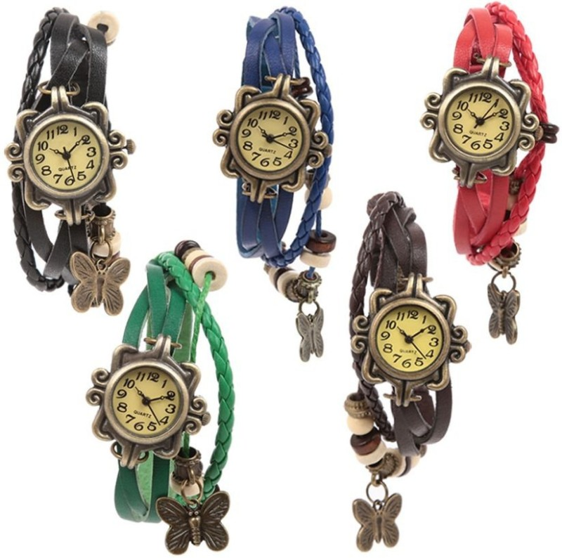 Ewwe Pack Of 5 Vintage Analog Watch - For Girls