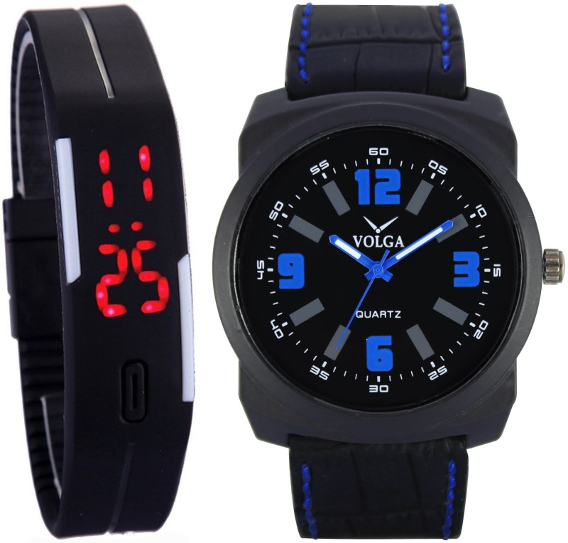 Volga Digital LED Fancy Look Kids With Dad New Latest Branded Collection Young Boys Lather Designer belt With Best Offers Super32 Mens Leather Sport Analog-Digital Watch - For Men