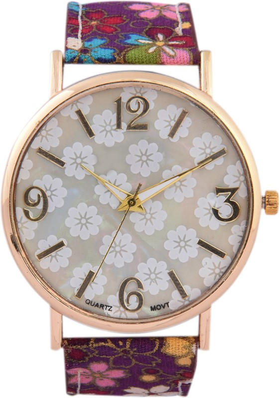 3wish White Dial Fabric Strap Watch - For Women