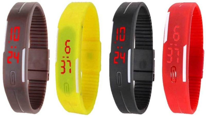 ns18-silicone-led-magnet-band-watch-combo-of-4-brown-yellow-black-and-red-watch-for-couple