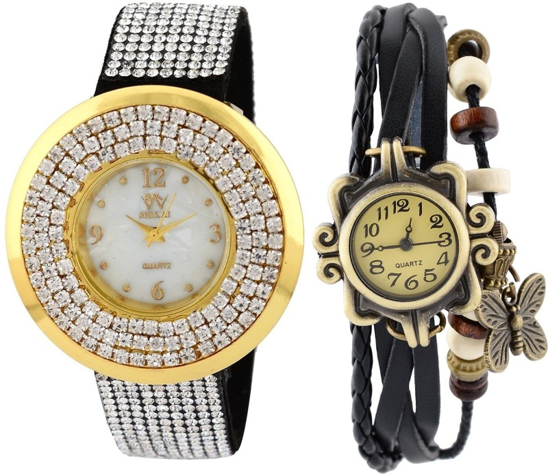 genevaa-pack-of-2-designer-weddng-collection-full-diamond-studded-vintage-black-butterfly-leather-watch-for-women