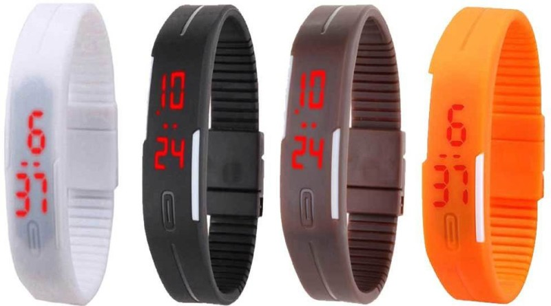 ns18-silicone-led-magnet-band-combo-of-4-white-black-brown-and-orange-watch-for-boys-girls