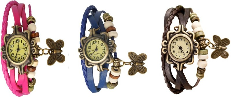 ns18-vintage-butterfly-rakhi-watch-combo-of-3-pink-blue-and-brown-watch-for-women