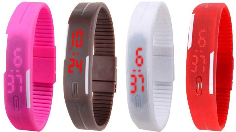 ns18-silicone-led-magnet-band-watch-combo-of-4-pink-brown-white-and-red-watch-for-couple