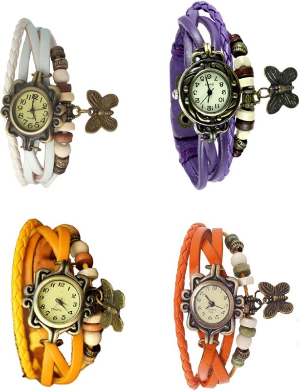 ns18-vintage-butterfly-rakhi-combo-of-4-white-yellow-purple-and-orange-watch-for-women