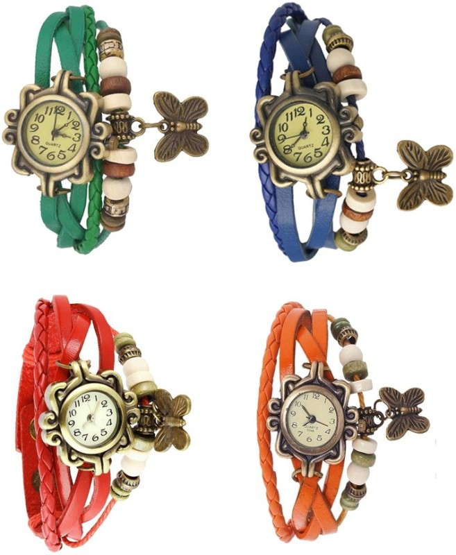 ns18-vintage-butterfly-rakhi-combo-of-4-green-red-blue-and-orange-watch-for-women