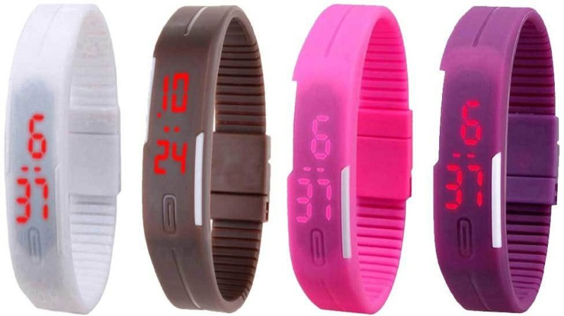 ns18-silicone-led-magnet-band-watch-combo-of-4-white-brown-pink-and-purple-watch-for-couple