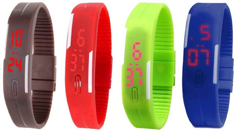 ns18-silicone-led-magnet-band-combo-of-4-brown-red-green-and-blue-watch-for-boys-girls