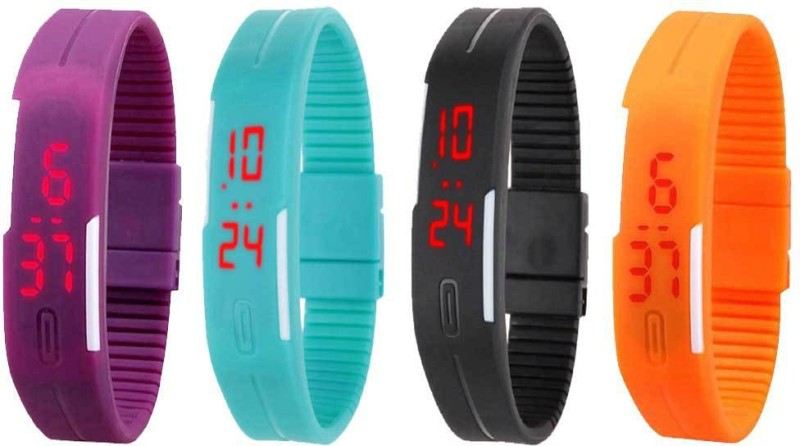 ns18-silicone-led-magnet-band-combo-of-4-purple-sky-blue-black-and-orange-watch-for-boys-girls