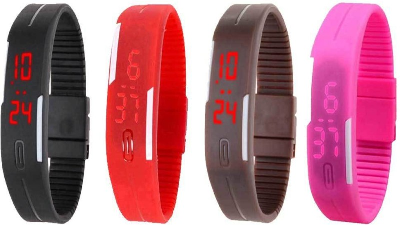ns18-silicone-led-magnet-band-combo-of-4-black-red-brown-and-pink-watch-for-boys-girls