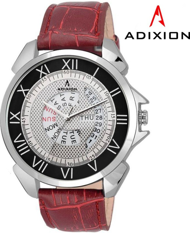 ADIXION 9506SLD2 New Maroon Strap watch with Day and Date Analog Watch - For Men