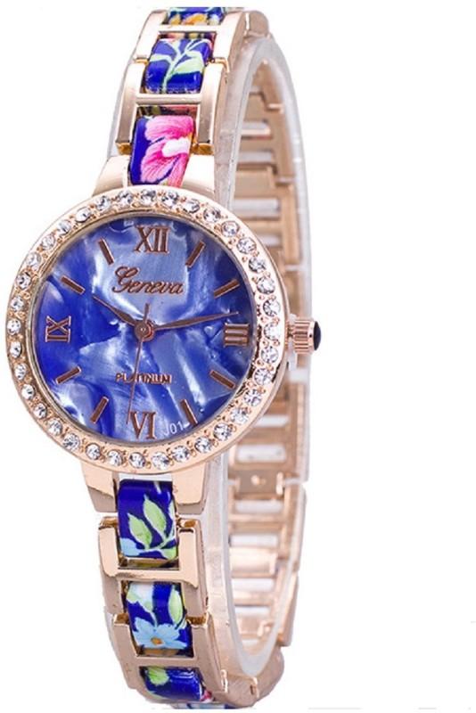 Geneva Platinum Dial Designer Floral Strap Analog Watch - For Women