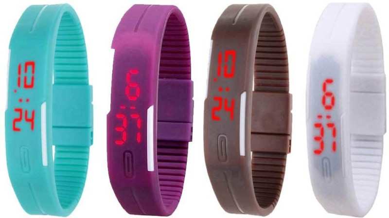 ns18-silicone-led-magnet-band-combo-of-4-sky-blue-purple-brown-and-white-watch-for-boys-girls