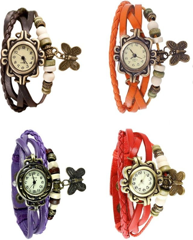 ns18-vintage-butterfly-rakhi-combo-of-4-brown-purple-orange-and-red-watch-for-women