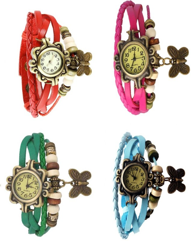 ns18-vintage-butterfly-rakhi-combo-of-4-red-green-pink-and-sky-blue-watch-for-women