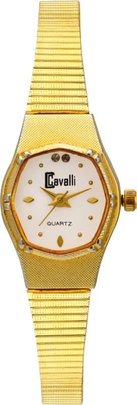 Cavalli CW107 White Dial Gold Designer Bracelet Analog Watch - For Women