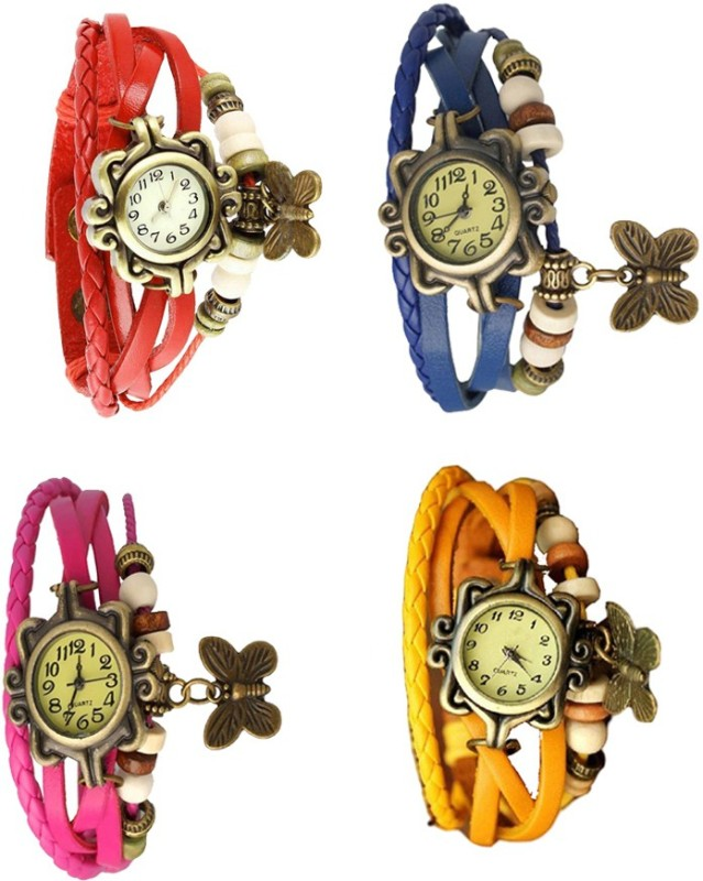 ns18-vintage-butterfly-rakhi-combo-of-4-red-pink-blue-and-yellow-watch-for-women
