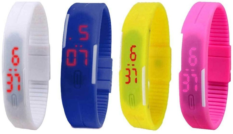 ns18-silicone-led-magnet-band-watch-combo-of-4-white-blue-yellow-and-pink-watch-for-couple