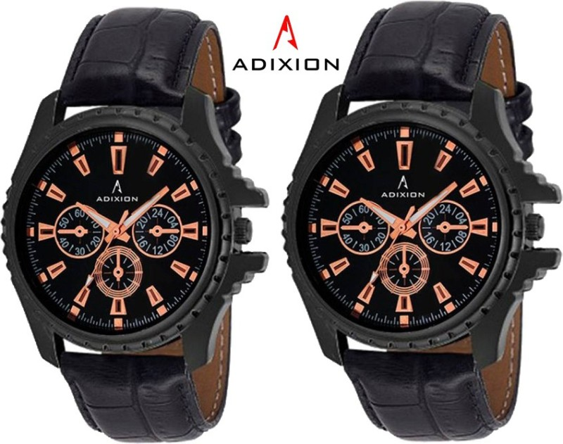 ADIXION 133NL0101 New Chronograph Pattern Black Leather Analog Watch - For Men