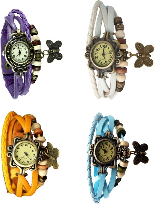 ns18-vintage-butterfly-rakhi-combo-of-4-purple-yellow-white-and-sky-blue-watch-for-women