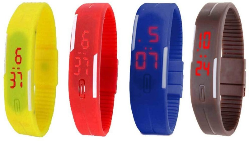 ns18-silicone-led-magnet-band-combo-of-4-yellow-red-blue-and-brown-watch-for-boys-girls