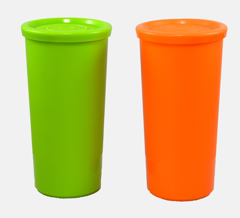 Tupperware aqua 210 ml Water Bottles(Set of 2, orange, green)
