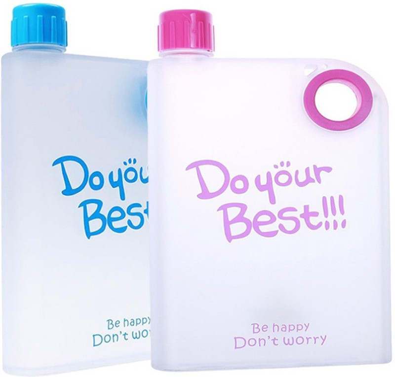 Tuelip Opaque Series 380 ml Water Bottles(Set of 2, Multicolor)