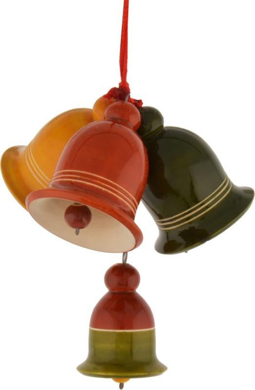 Anuradha 4 Hanging bells set Wood Windchime(2 inch, Multicolor)