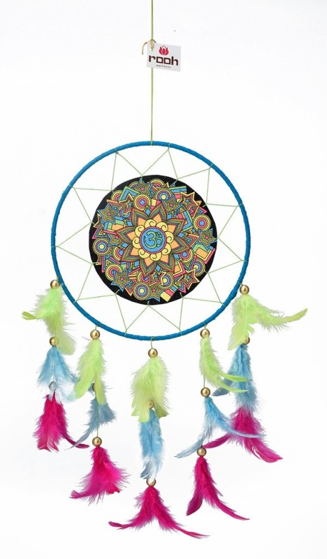 Rooh dream catcher Canvas Om psychadelic Wool Windchime(20 inch, Yellow, Green, Blue)
