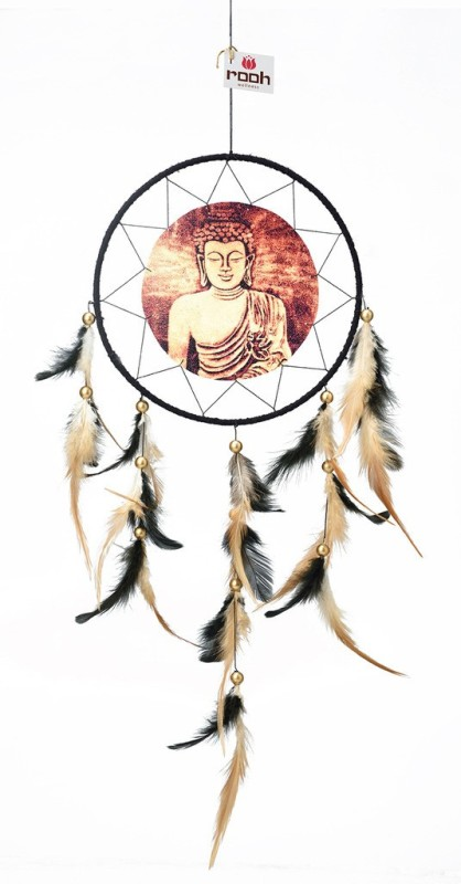 Rooh dream catcher Canvas Buddha Serene Wool Windchime(20 inch, Beige, Brown)