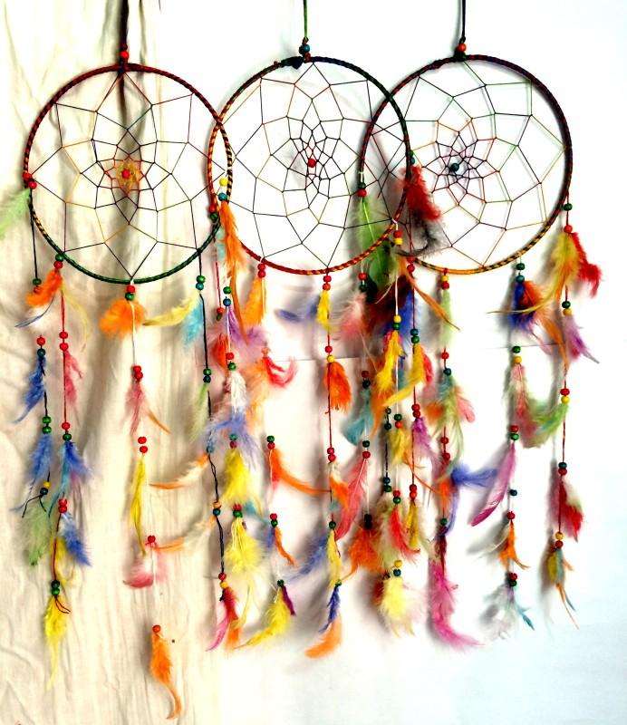 Varanasi Enterprises Dream Catcher Wall Hanging Wool Windchime(28 inch, Multicolor)