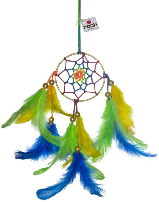 Rooh Wellness Wool Windchime(19 inch, Green, Yellow, Blue)