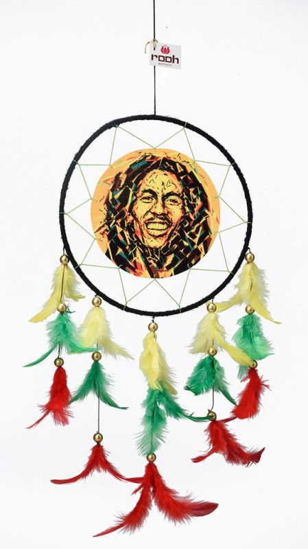 Rooh dream catcher Canvas Bob Marley Wool Windchime(20 inch, Yellow, Red, Green)