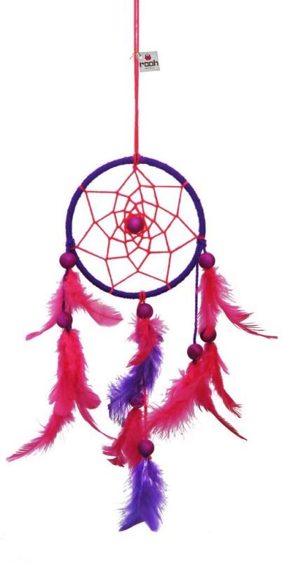 Rooh dream catcher Wool Windchime(12 inch, Pink, Purple)