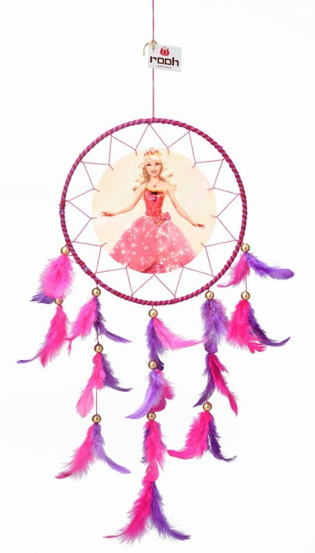 Rooh dream catcher Canvas Barbie Wool Windchime(20 inch, Pink, Purple)