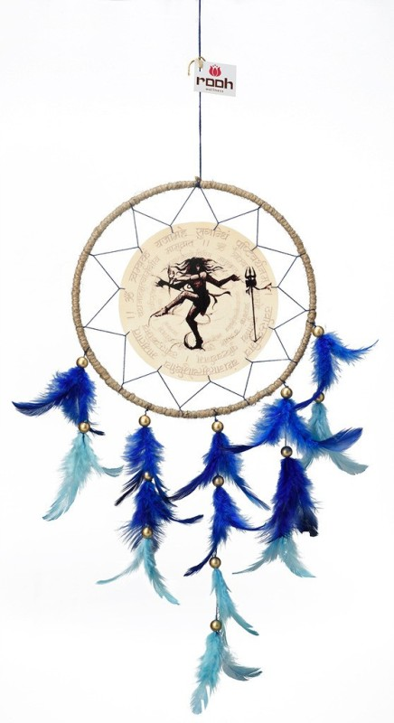 Rooh dream catcher Canvas Shiva Neelkanth Wool Windchime(20 inch, Blue, Beige, Black)