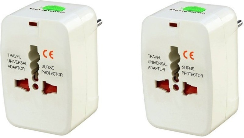 99 Gems Pack of 2 Universal Worldwide Adaptor(White)