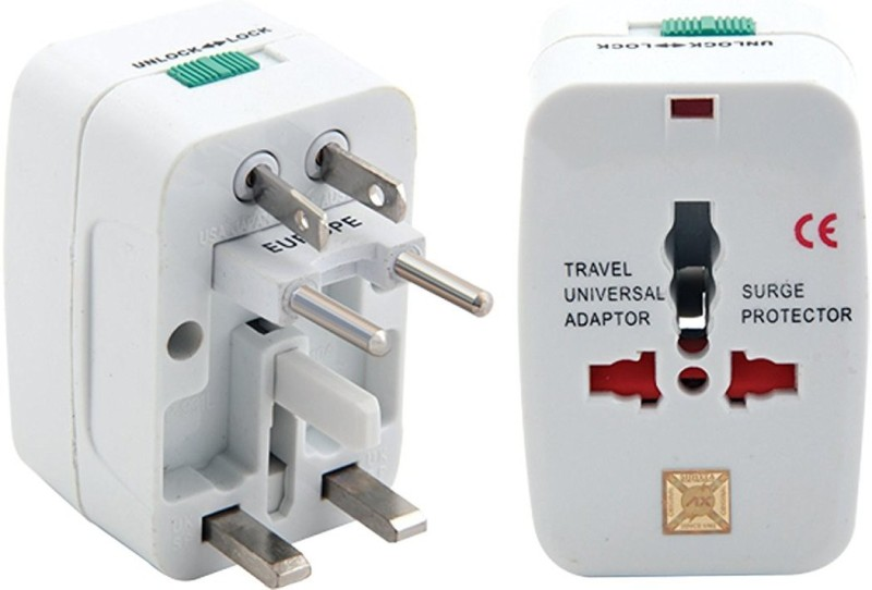 White Universal Travel Multi-Plug Worldwide Adaptor(White)