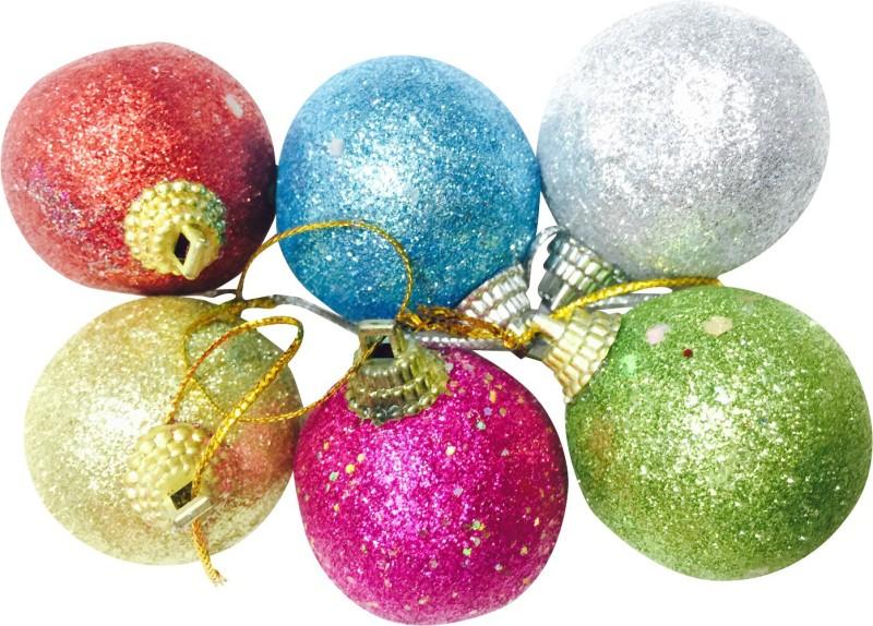 Priyankish Xmas Tree Glittering Ball Hanging Ornaments Pack of 6