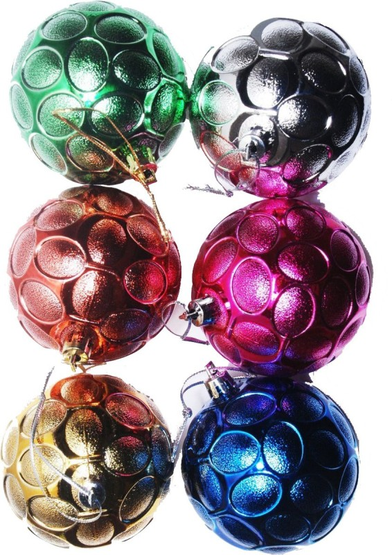 FNB Christmas Tree Multicolored Ball Hanging Ornaments Pack of 6