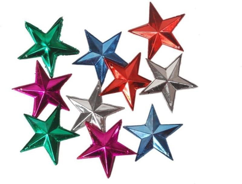 Indigo Creatives Miniature Multicolor Star pack of 10 pieces for home / office christmas tree decoration Hanging Star Pack of 10