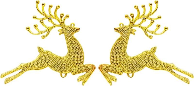 Priyankish Christmas Tree 2 Golden Deers Reindeer Figure Pack of 2