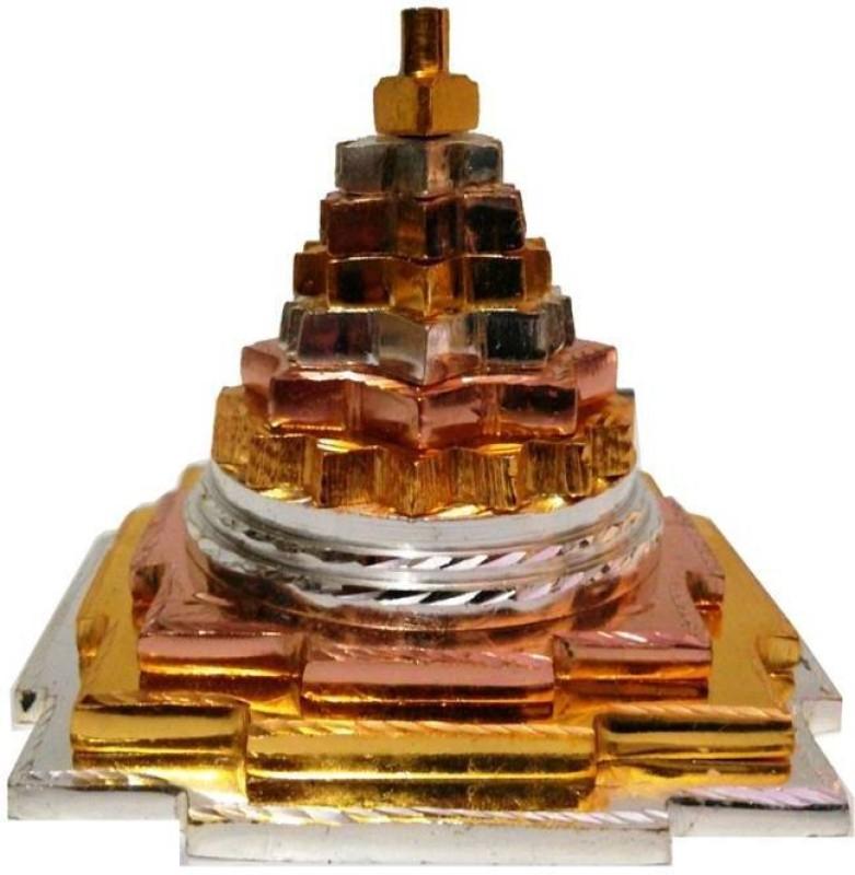 Divine Kraft Maha Meru Shree Yantra Golden-Silver-Bronze Brass Yantra(Pack of 1)