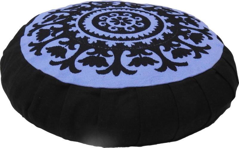 Kanyoga Cotton Round Printed Design BuckWheat Hull Filled Zafu Yoga Medetation Cushion (13 x 38 CM) Yoga Blocks(Black Pack of 1)