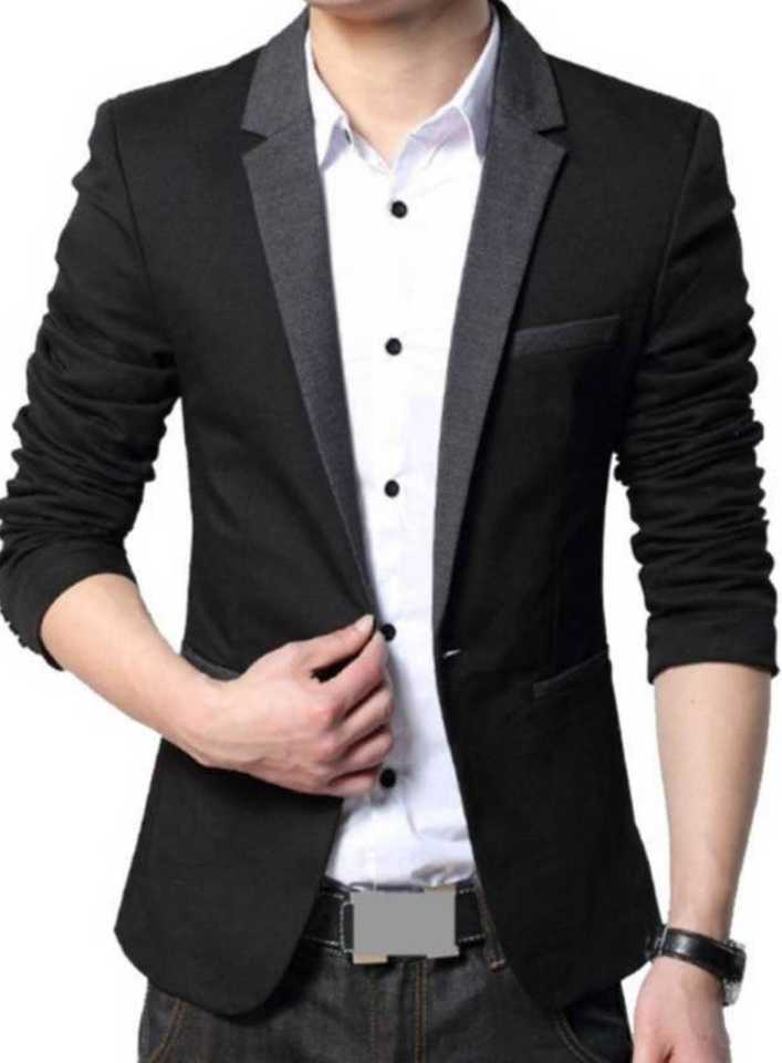 Beetle Solid Single Breasted Party Men Blazer  (Black)