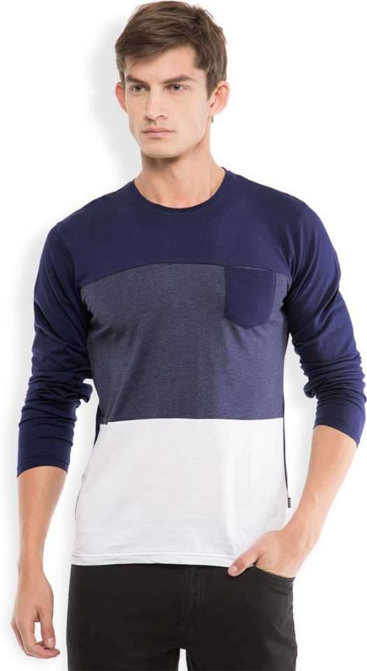 Highlander Solid Men Round Neck Dark Blue, White T Shirt