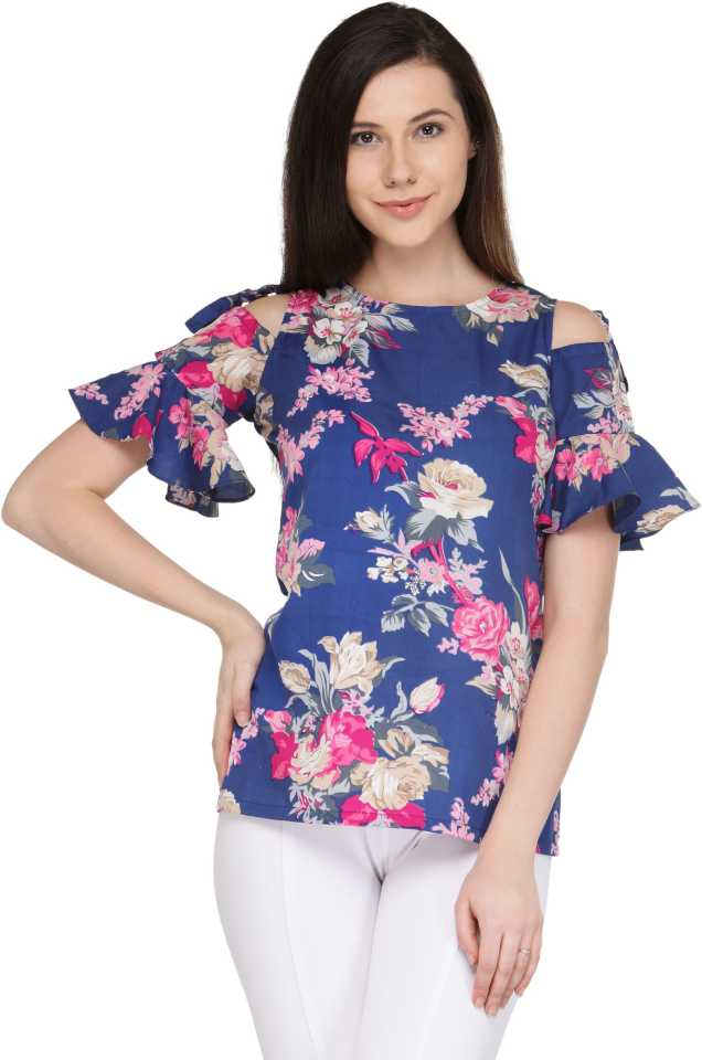 Casual Short Sleeve Printed Women's Blue Top st Flipkart ₹399